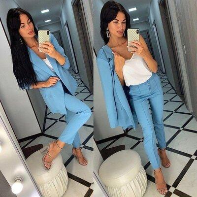 Стильный деловой костюм 3-ка пиджак майка брюки размеры по 54