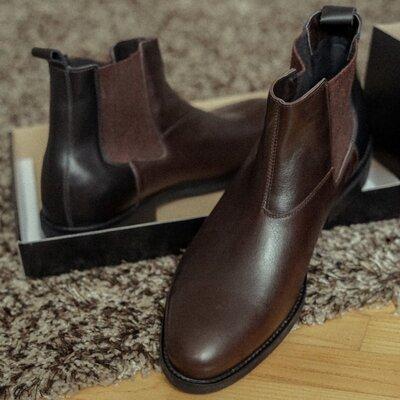Демисезонные осенние весенние ботинки сапоги броги челси из натуральной кожи кожаные статусные прес