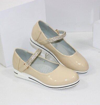 Подростковые школьные бежевые лаковые туфли балетки для девочки стелька кожа