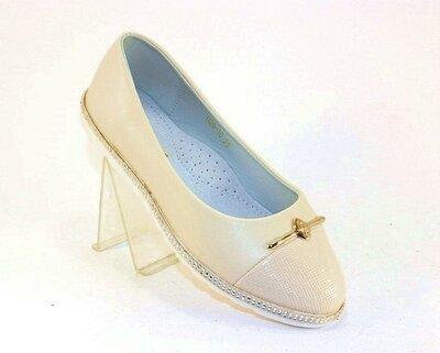 Детские бежевые туфли балетки для девочки стелька кожа