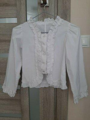 Школьная белая нарядная блузка блуза рубашка на девочку р.134 - 140 см