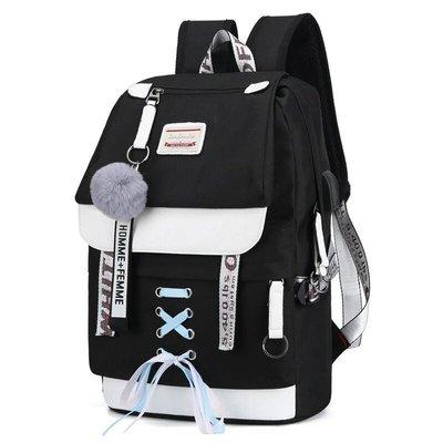 Качественный школьный рюкзак Hiflash для девочки черный и бирюзовый с usb-портом