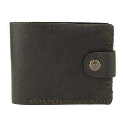 Мужское кожаное портмоне на кнопке Handycover HC0028 коричневое