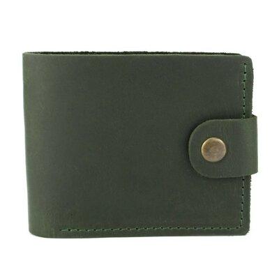 Мужское кожаное портмоне на кнопке Handycover HC0028 зеленое