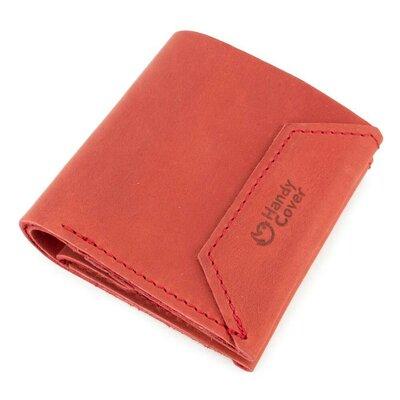Женский кожаный кошелек на кнопке Handycover HC0088 красный