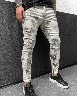 2020. Варианты. Европейское качество. Мужские джинсы приталенные рваные потертости светлые bi-3444