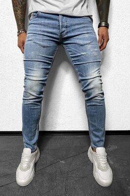 2020. Варианты. Европейское качество. Мужские джинсы приталенные потертости голубые 3282