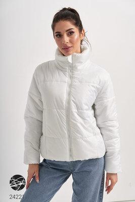 Біла демісезонна куртка Демисезонная стеганая куртка белая Куртка женская белого цвета