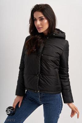 Демісезонні жіночі куртки Женские демисезонные куртки с капюшоном размеры 42-54 Черная куртка 2020