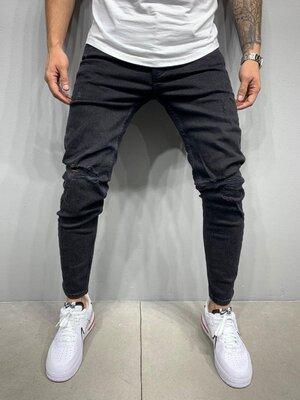 2020. Варианты. Европейское качество. Мужские джинсы рваные зауженные Турция 2Y Premium черный 5438