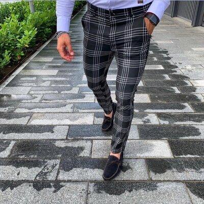 2020. Варианты Мужские стильные брюки, штаны, полоска, клетка серые черные классика o-210
