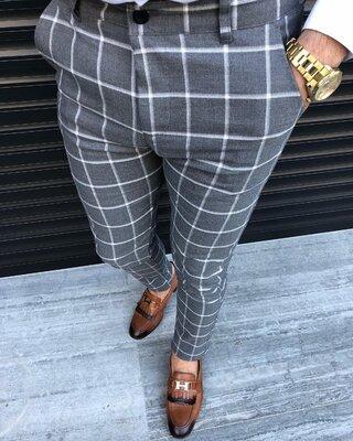 2020. Варианты Мужские стильные брюки, штаны, полоска, клетка серые черные классика o-217