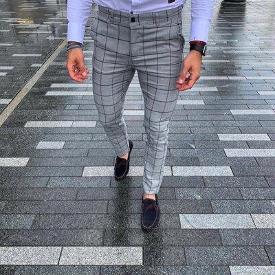 2020. Варианты Мужские стильные брюки, штаны, полоска, клетка серые черные классика dj-205