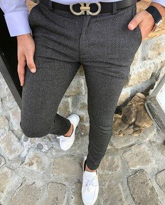 2020. Варианты Мужские стильные брюки, штаны, полоска, клетка серые черные классика dj-207