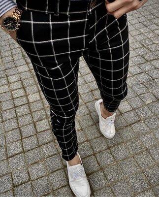 2020. Варианты Мужские стильные брюки, штаны, полоска, клетка серые черные классика dj-401