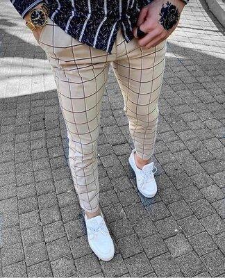 2020. Варианты Мужские стильные брюки, штаны, полоска, клетка бежевые dj-402