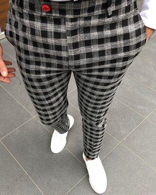 2020. Варианты Мужские стильные брюки, штаны, полоска, клетка серые черные классика dj-203