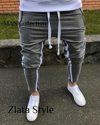 Мужские стильные штаны 7405 расцветки лампасы Турция