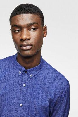 Продано: Шикарная синяя рубашка с цветочным принтом zara man slim fit made in india