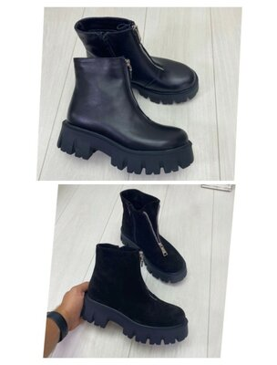 Ботинки 36-41 демисезонные натуральная кожа замш черные черный подошва