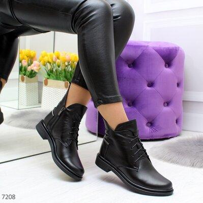 Женские натуральные замшевые кожаные ботинки на шнуровке на низком ходу