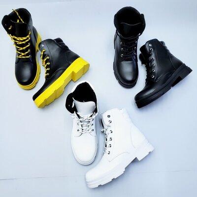 Супер новинка Стильные натуральные кожаные женские демисезонные / зимние ботинки