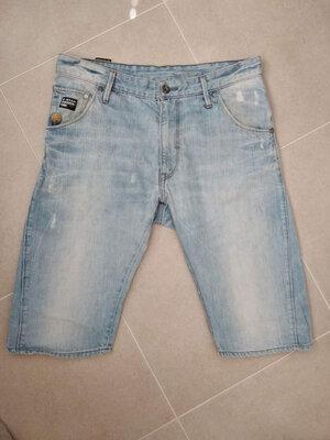 Крутые моднячие джинсовые бриджи голубого цвета от G - Star originals raw.размер 34