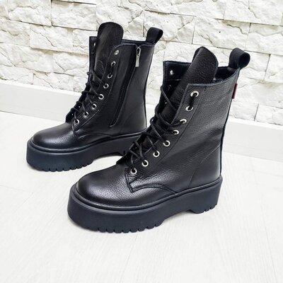 Мега крутые натуральные кожаные женские ботинки, мартинсы Демисезонные / зимние
