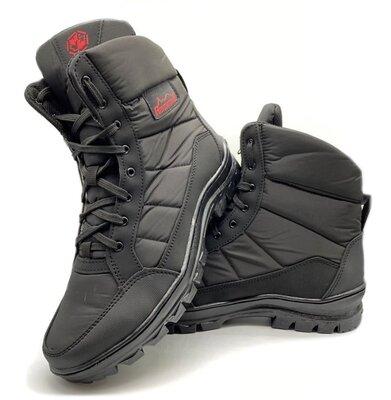 Ботинки берцы зимние мужские черного цвета Бл-410