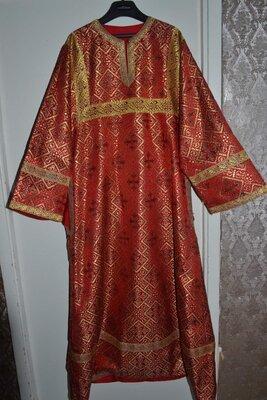 Стихарь Христианский Пономарский Красный-Церковное Облачение-Из греческой парчи