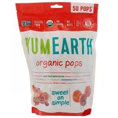 Yumearth Органические леденцы 50 шт. organic pops assorted flavors