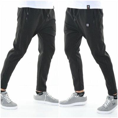 Мужские трикотажные штаны David&Gerenzo чёрные в полоску