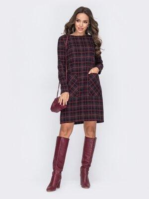 Теплое платье с накладными карманами. 2 цвета
