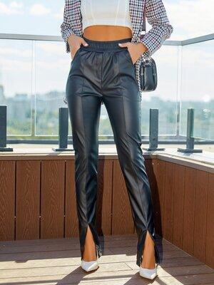 Черные кожаные брюки с разрезами, жіночі шкіряні штани