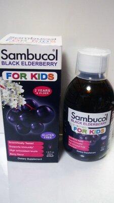 Sambucol, Черная бузина, Сироп для детей, с ягодным вкусом, 120 и 230 мл