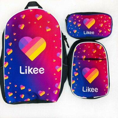 Набор школьный Рюкзак, мини рюкзачек, пенал Лайки Likee Тик Ток Tik Tok розница и опт