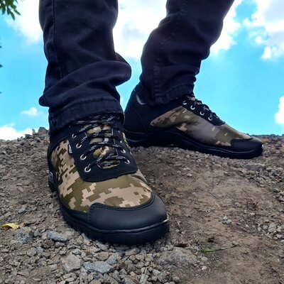 Мужские камуфляжные кроссовки на протекторной прошитой подошве Кз-16Зл-2