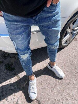 2020. Варианты. Европейское качество. Мужские джинсы приталенные рваные потертости голуб 6117-3468