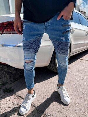 2020. Варианты. Европейское качество. Мужские джинсы приталенные рваные потертости голубые 4577
