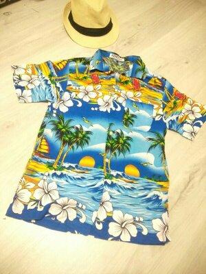 Рубашка для мальчика в гавайском стиле. Летняя рубашка. Сорочка.