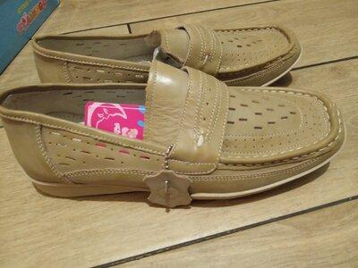 Новые. Кожаные мокасины, туфли босоножки Фламинго, р.36 стелька 23,5