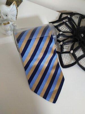 Синий золотой Классический шелковый деловой галстук Венгрия Lazoot Bakeba