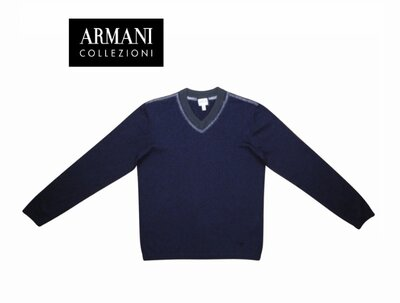 Мужская кофта шерстяная реглан джемпер синяя Armani Collezioni M