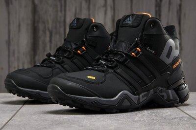 Зимние мужские ботинки Adidas Terrex 465 черные с оранжевым