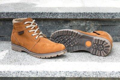 Мужские ботинки зимние нубук рыжие