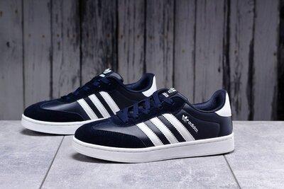 Кроссовки Adidas Original, темно-синие, кожа. новинка