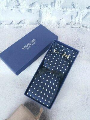 подарочный мужской набор галстук платок запонки подарок мужчине подарунковий набір