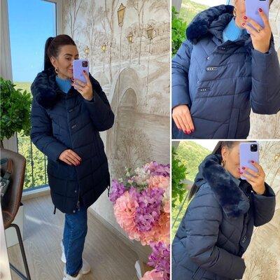 Куртка Зимняя-Длинная-- мех капюшон--48-58----синий- роза-черный