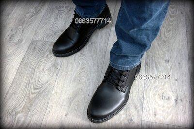 Чоловічі зимові черевики класика блискавка шкіряні Кожаные Мужские зимние ботинки классика молния