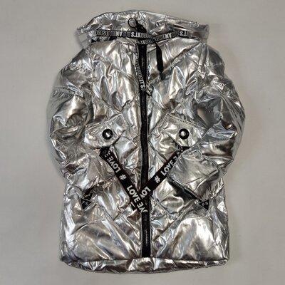 Детская демисезонная куртка пальто для девочки серебро 4-8 лет 3797
